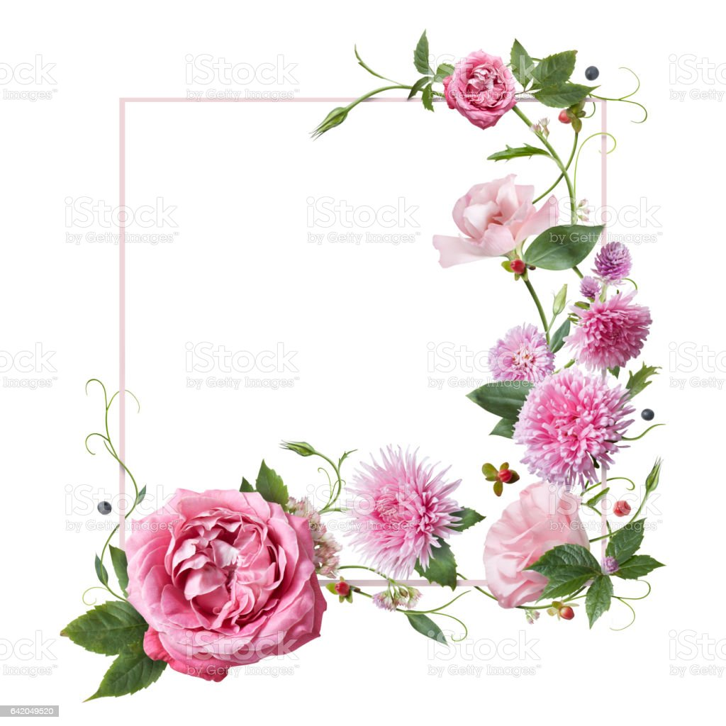 postcard with flowers vector art illustration
