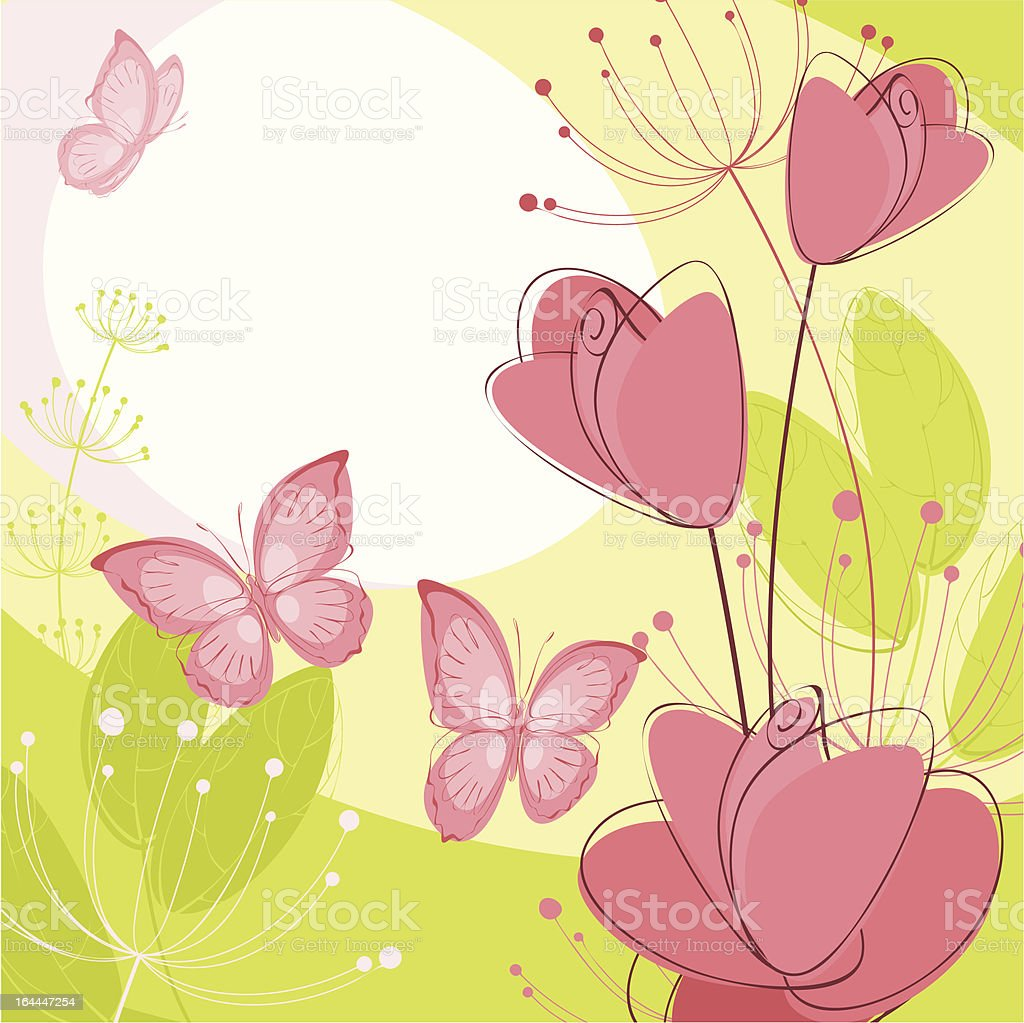 postcard with roses and butterflies royalty-free stock vector art