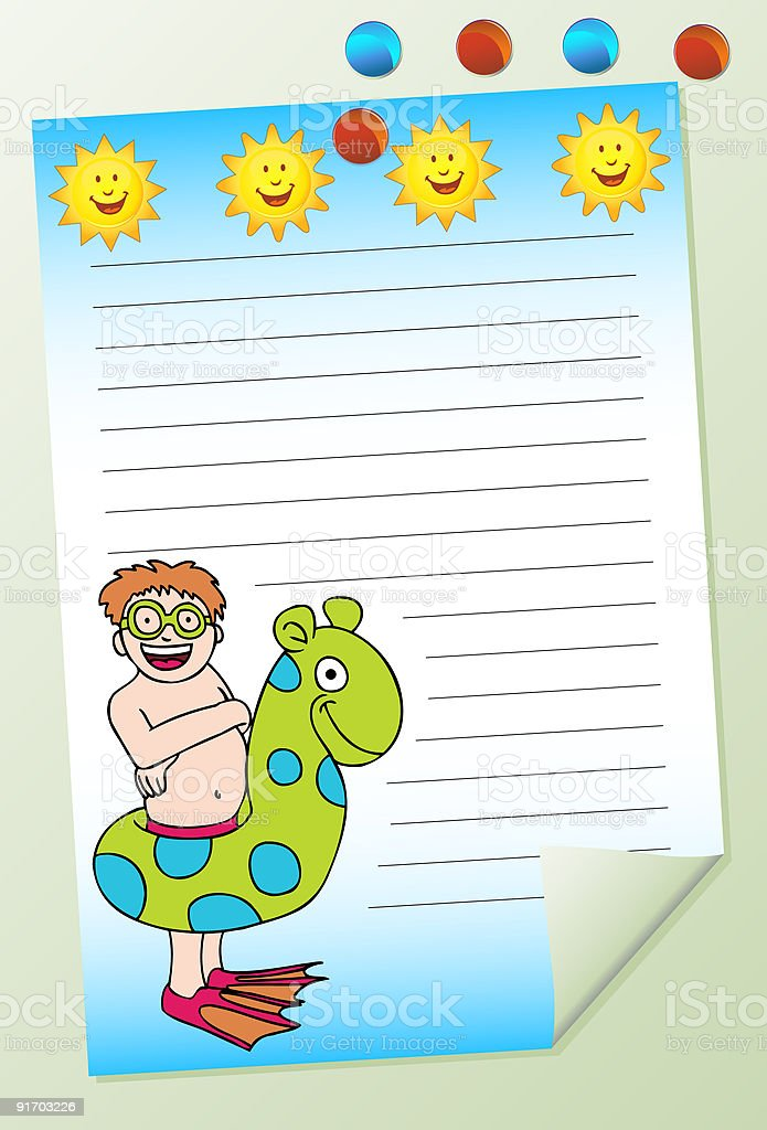 Posted Summer Curled Note on Board royalty-free stock vector art