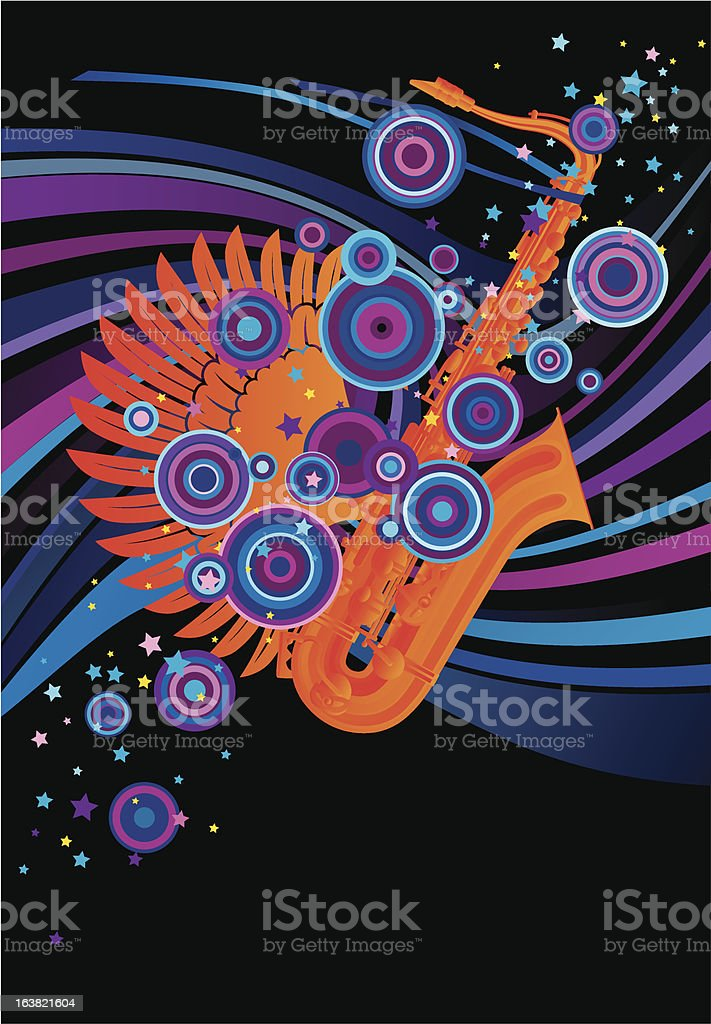Poster with a saxophone vector art illustration