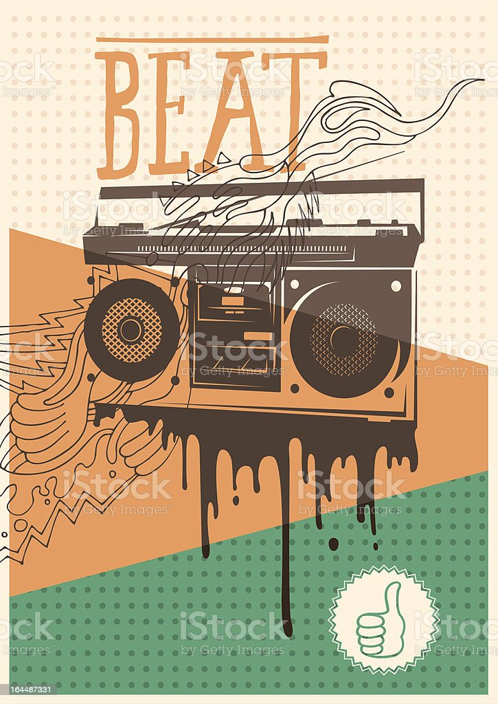 Poster with retro tape recorder. vector art illustration
