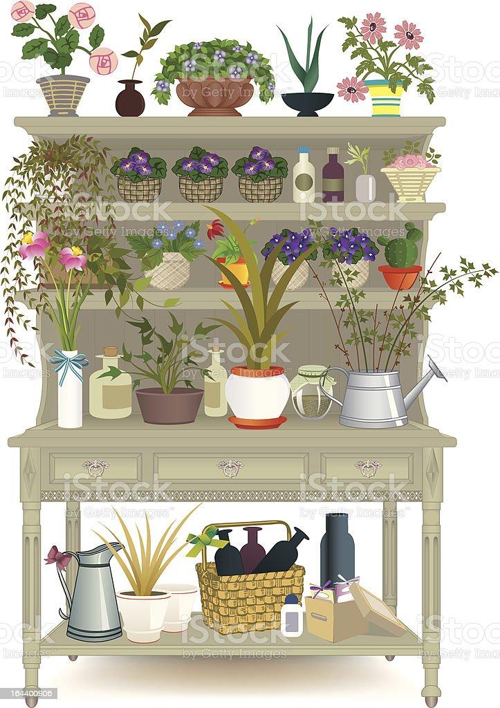 Pot flowers vector art illustration