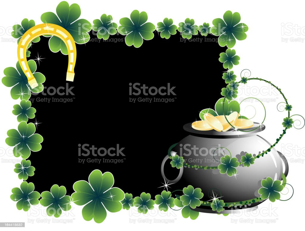 Pot of gold and horseshoe royalty-free stock vector art