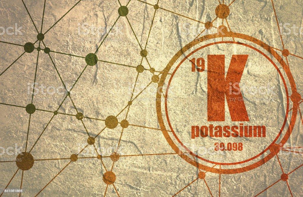 Potassium chemical element. vector art illustration