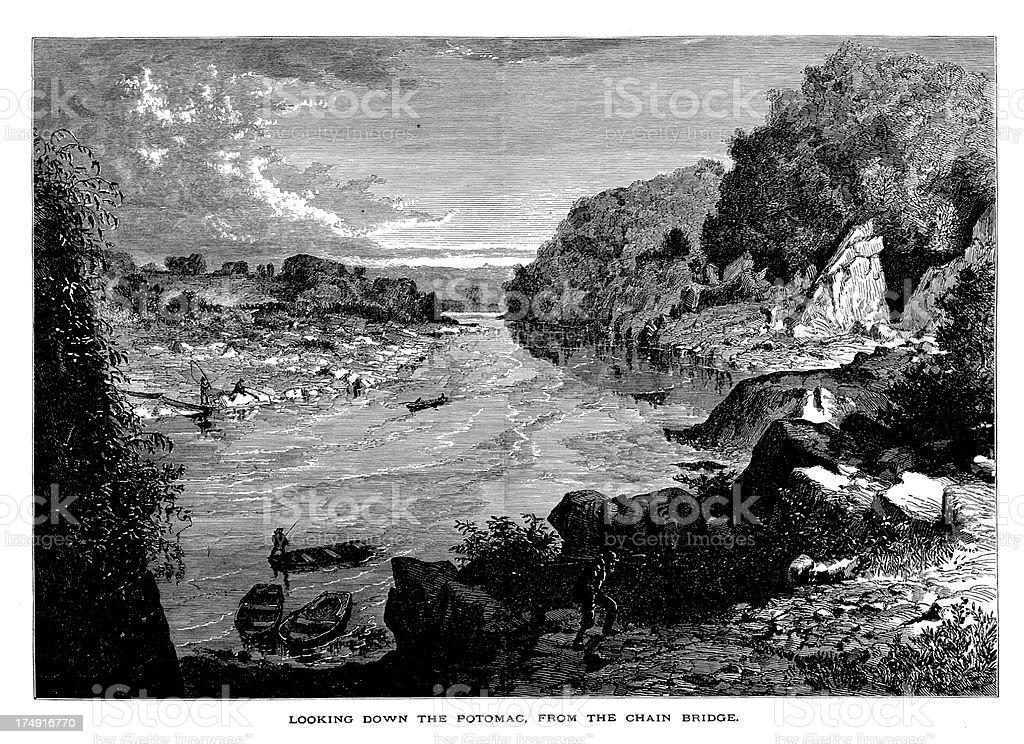 Potomac River, Washington D.C. royalty-free stock vector art