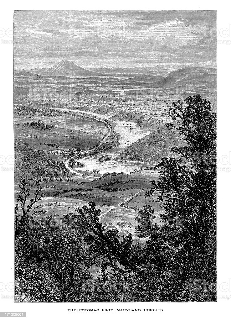 Potomac River, West Virginia | Historic American Illustrations royalty-free stock vector art