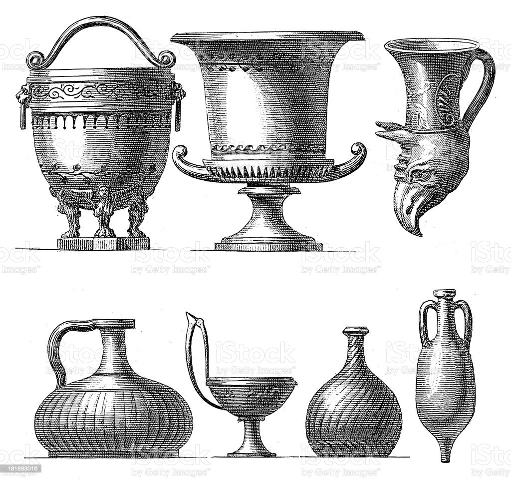 Pots from ancient Greece (antique wood engraving) royalty-free stock vector art