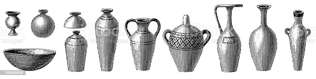 Pottery from Ancient Egypt (antique wood engraving) royalty-free stock vector art