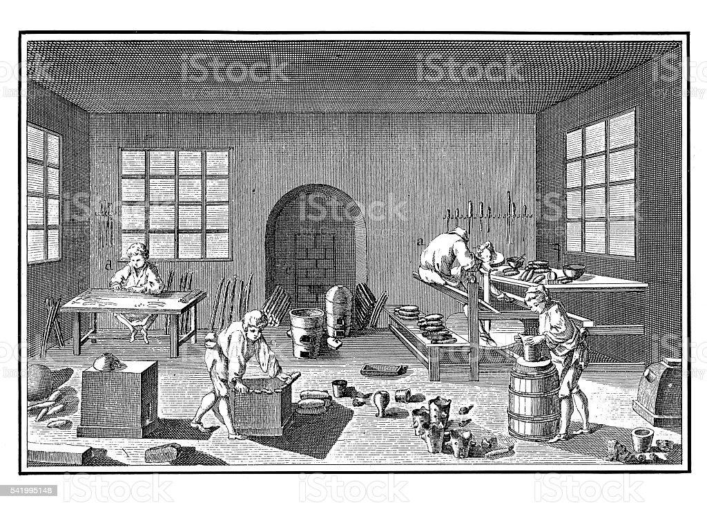 Pottery workshop (antique engraving) vector art illustration