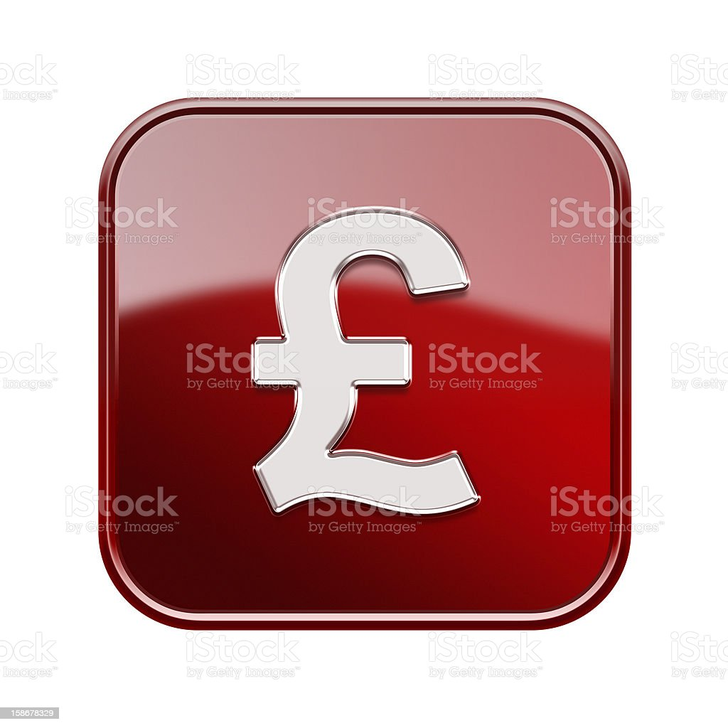 Pound icon glossy red, isolated on white background royalty-free stock vector art