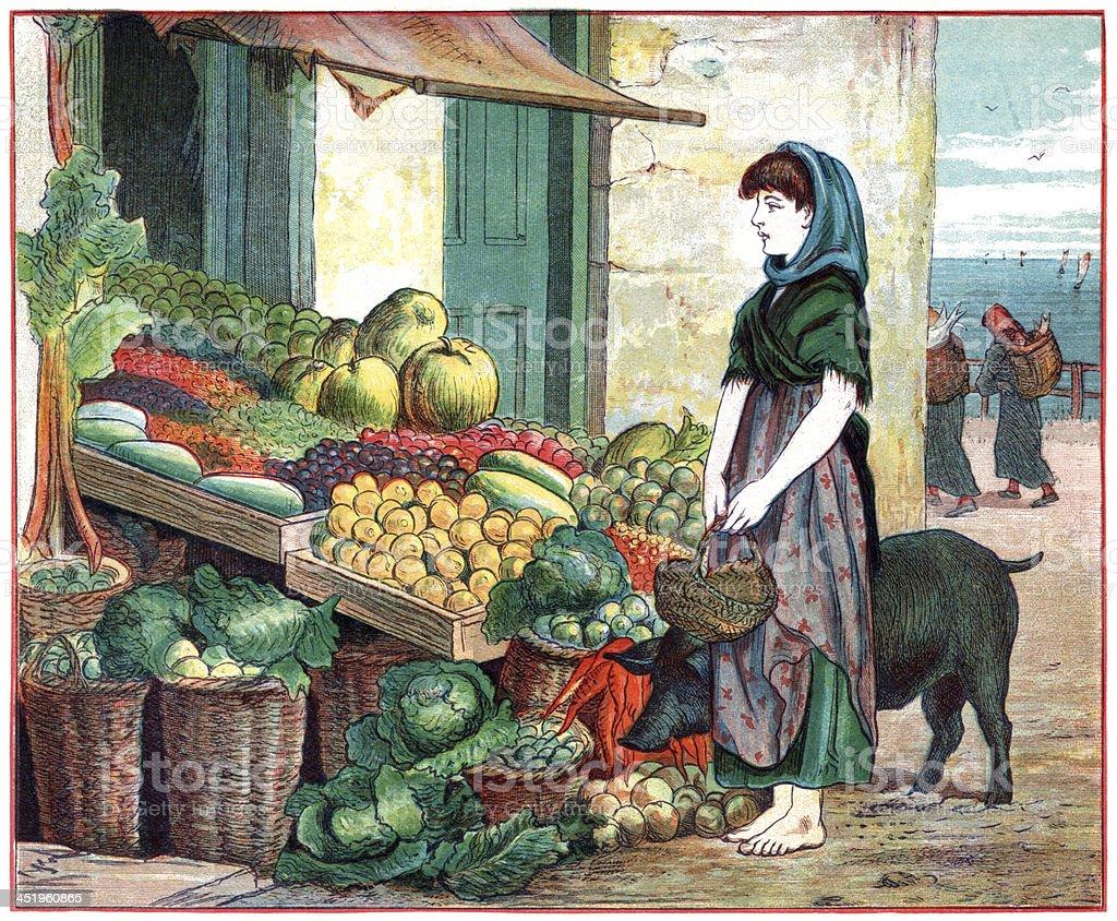 Poverty-stricken and wistful Victorian girl vector art illustration