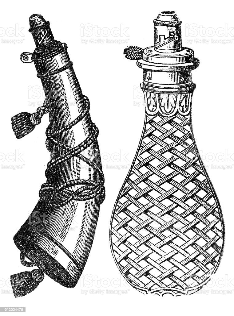 powder flask vector art illustration