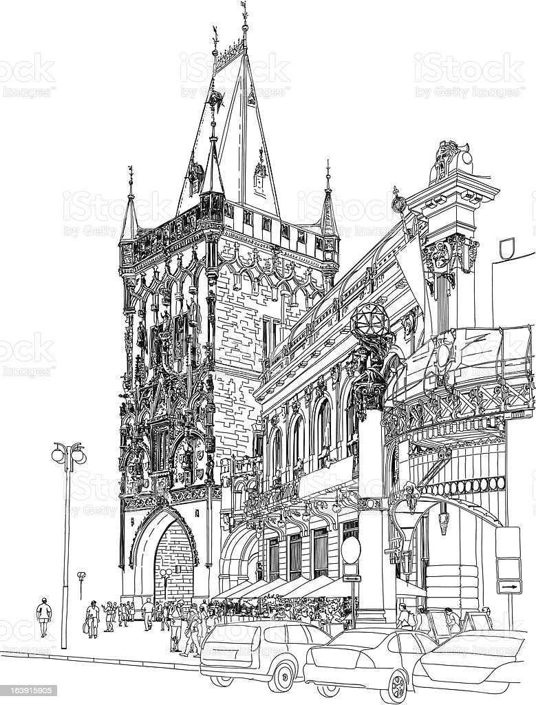 Powder Tower & Municipal House - Prague vector art illustration
