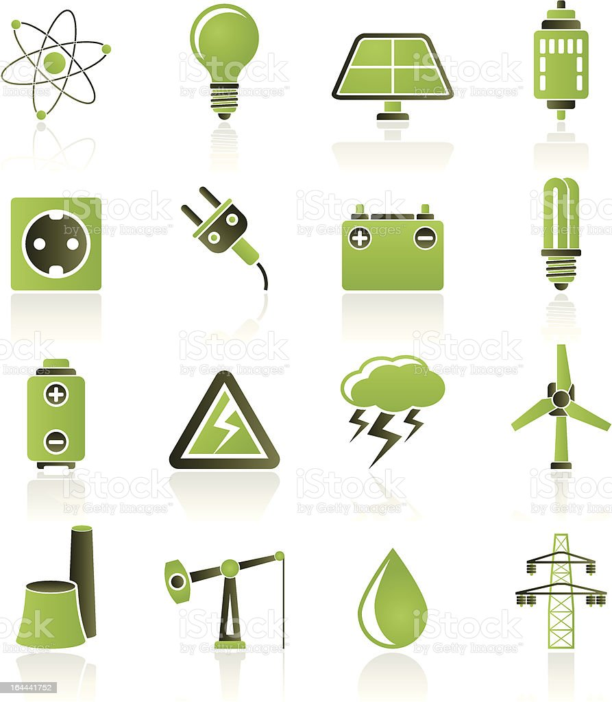 Power and electricity industry icons royalty-free stock vector art
