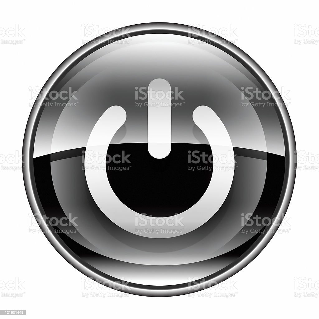 power button black, isolated on white background. royalty-free stock vector art