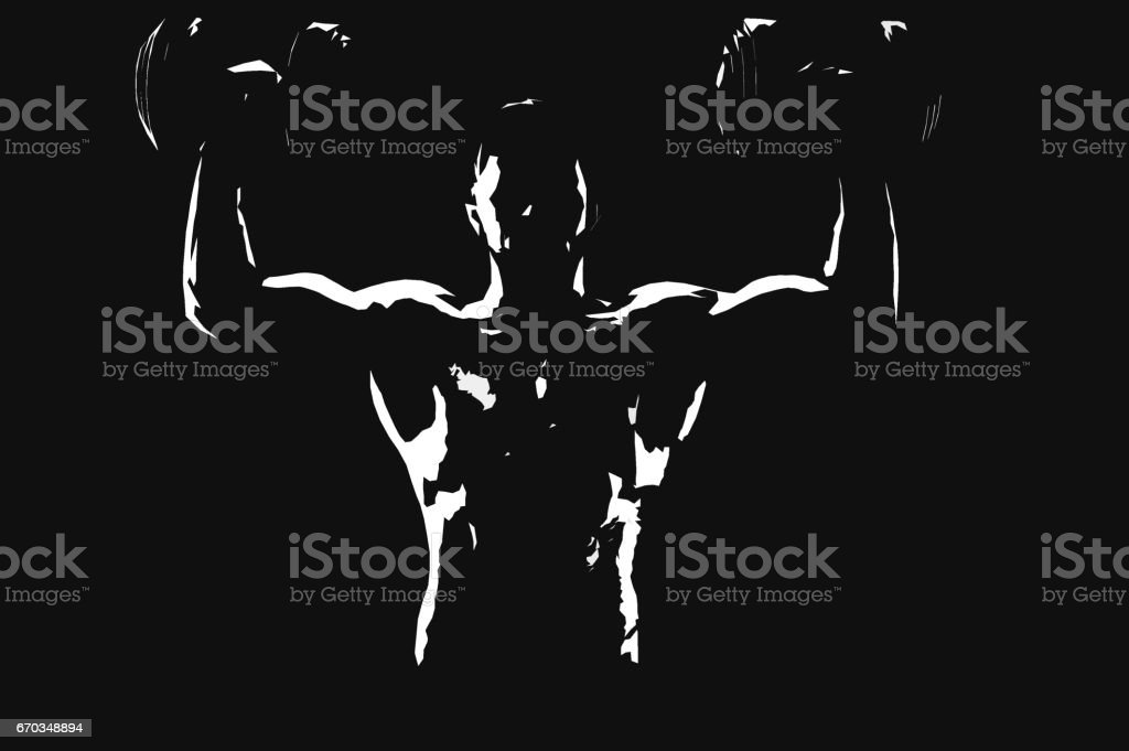 Powerful muscular man weightlifting black and white illustration stock photo