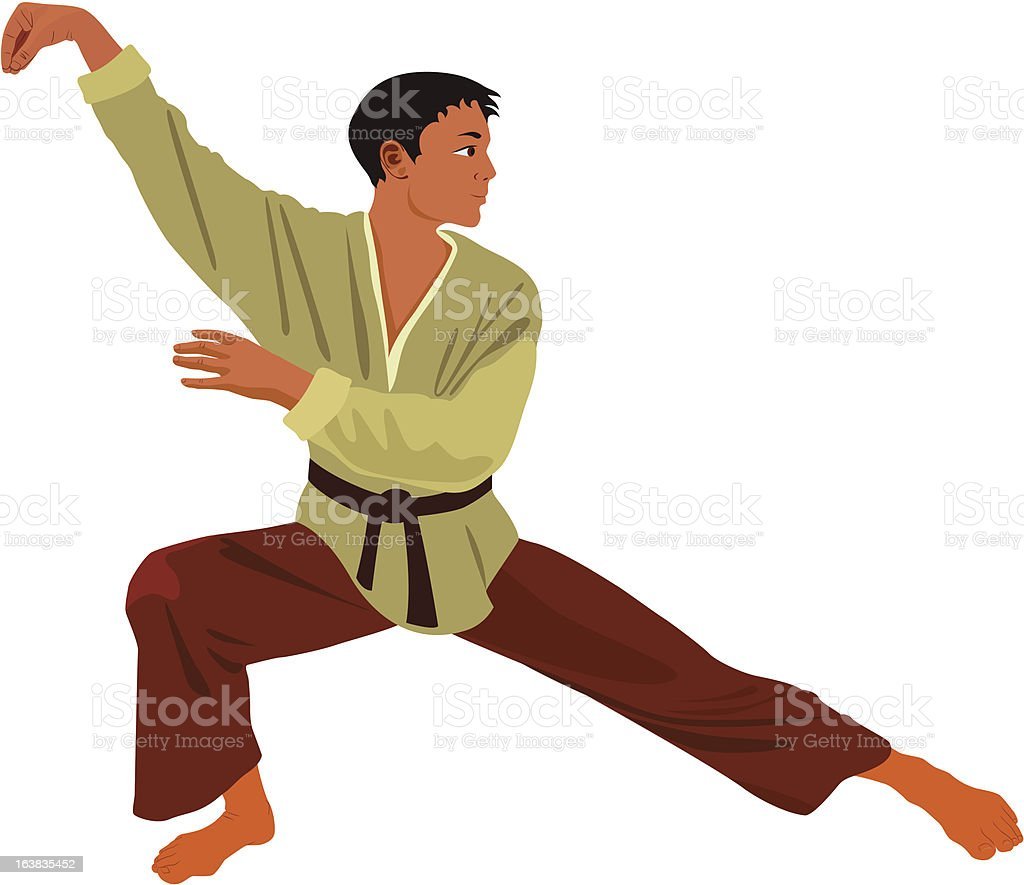 Practicing martial arts royalty-free stock vector art