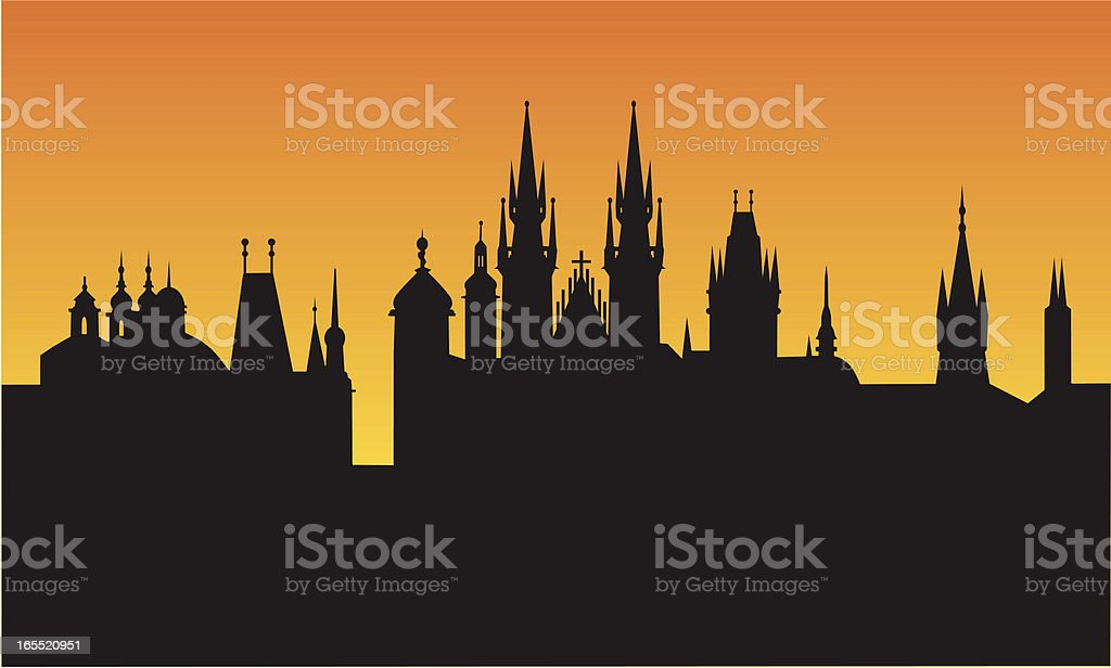 prague sunset royalty-free stock vector art