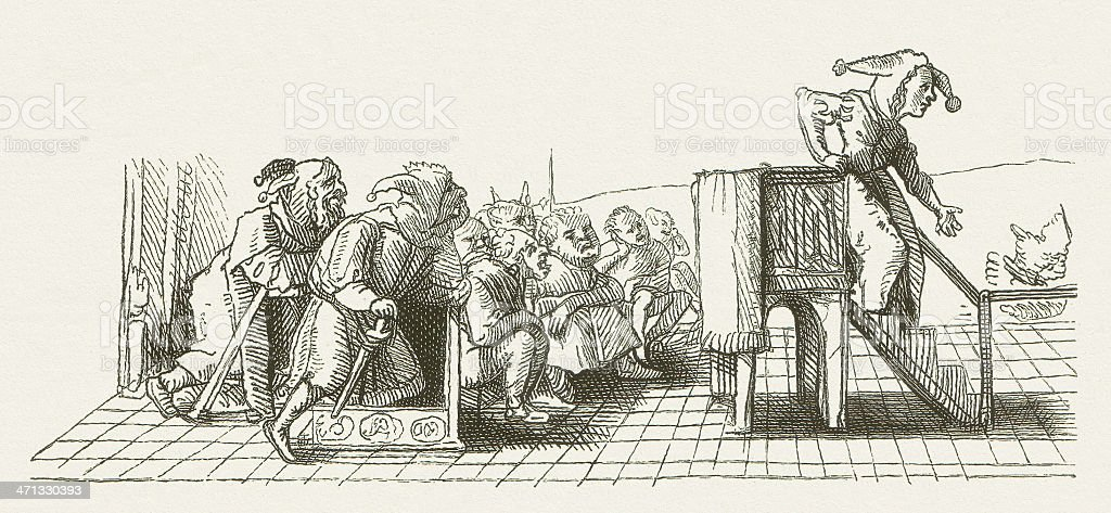 Praise of Folly, by Hans Holbein, wood engraving, published 1881 vector art illustration