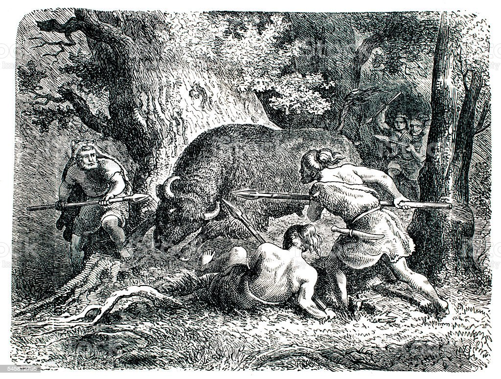 Pre historic Hunting party  as seen in end 19th century vector art illustration