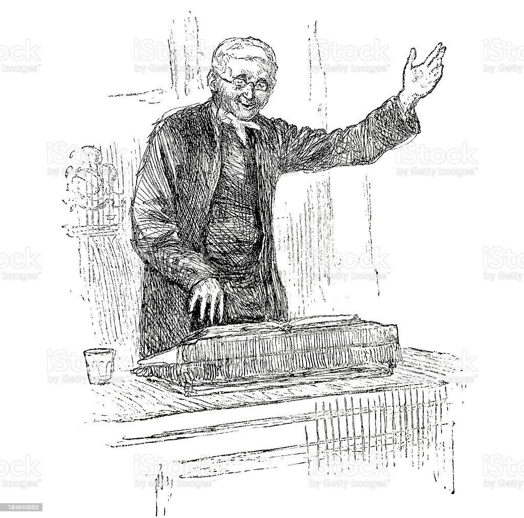 Preacher at Pulpit - Victorian Engraving royalty-free stock vector art