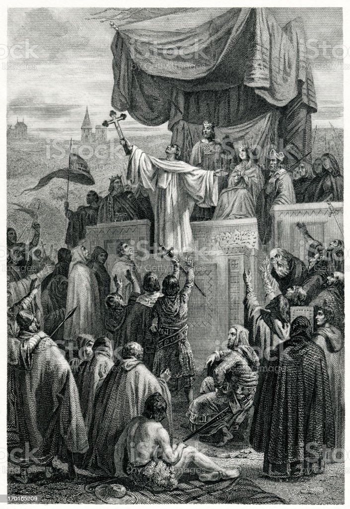 Preaching Of The Second Crusade royalty-free stock vector art