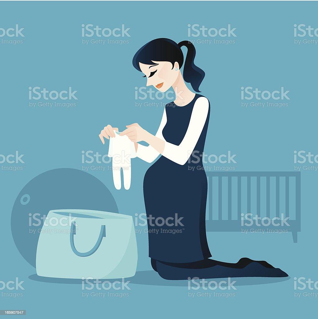 Pregnant Lady Packing Her Hospital Bag vector art illustration