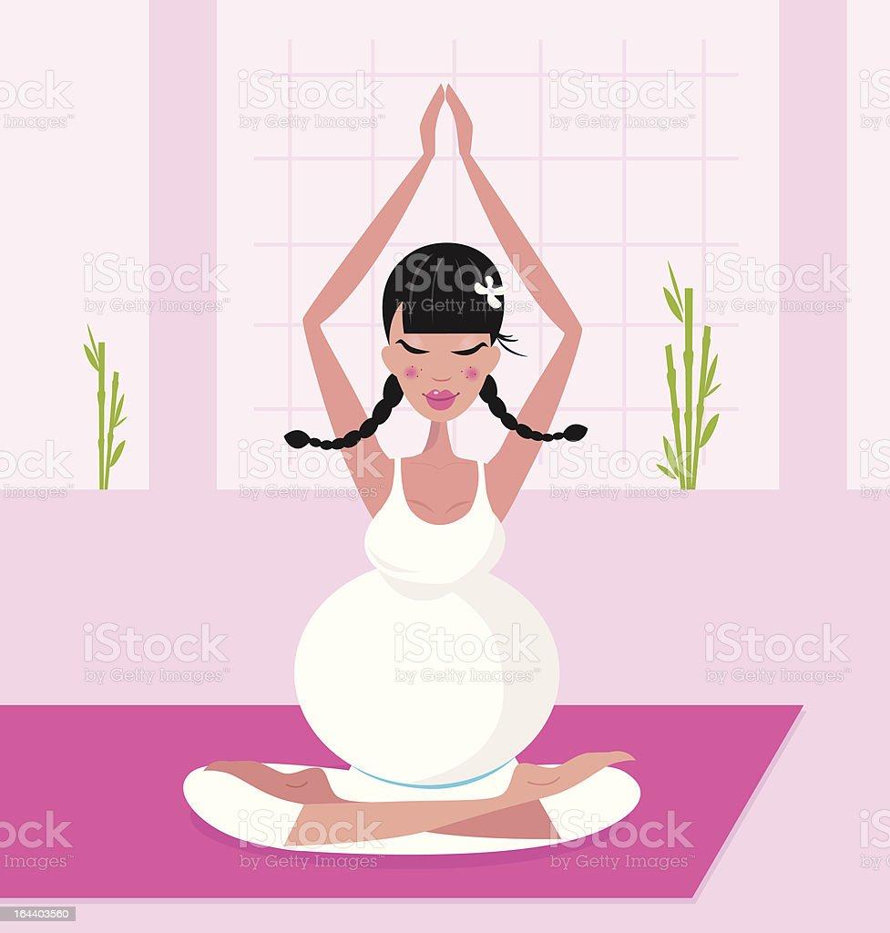 Pregnant woman practicing lotus asana sitting on pink yoga mat royalty-free stock vector art