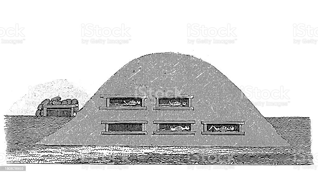 Prehistoric chamber tomb (antique wood engraving) royalty-free stock vector art