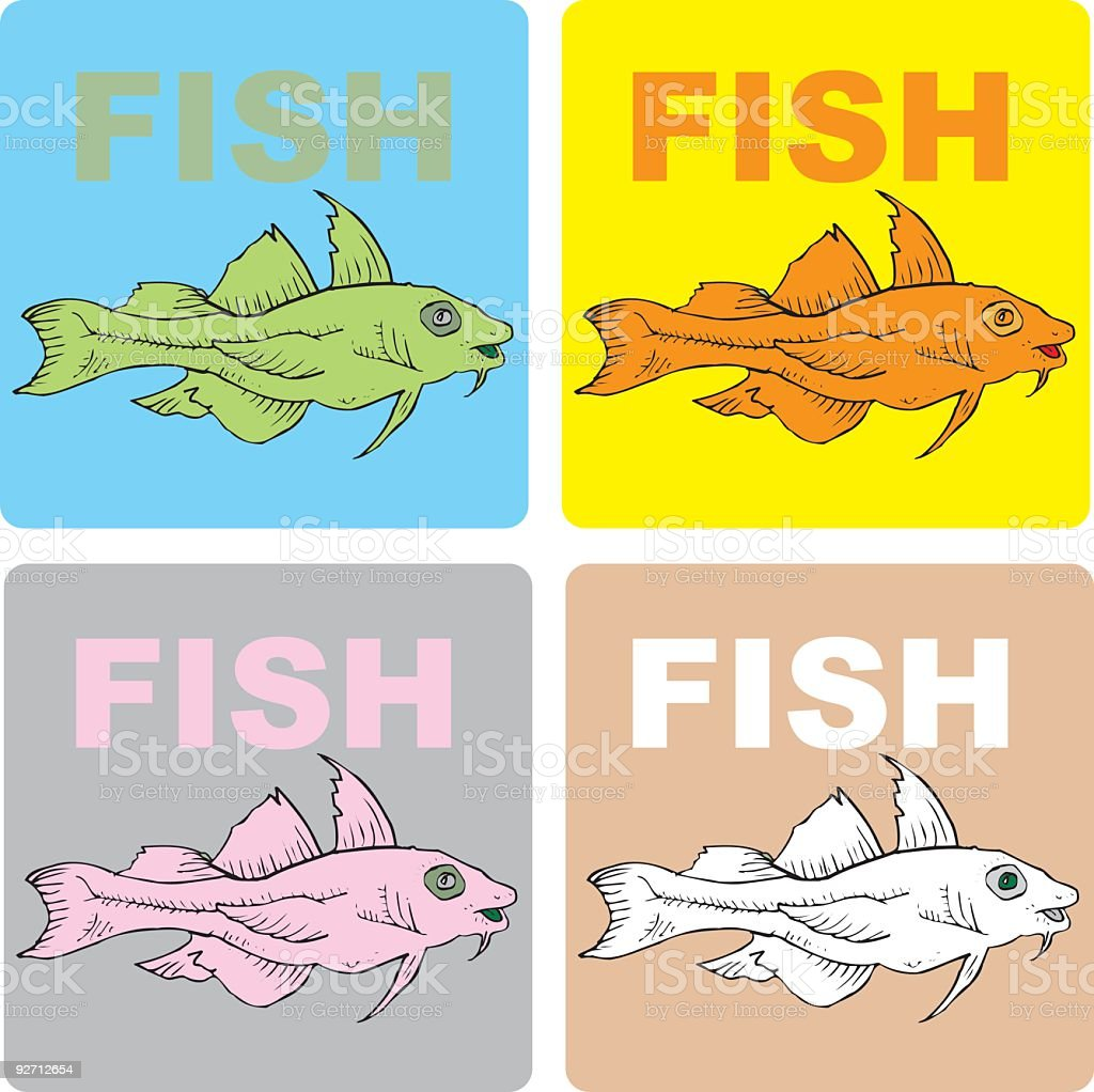 Prehistoric Fish Coasters (vector illustrations) royalty-free stock vector art