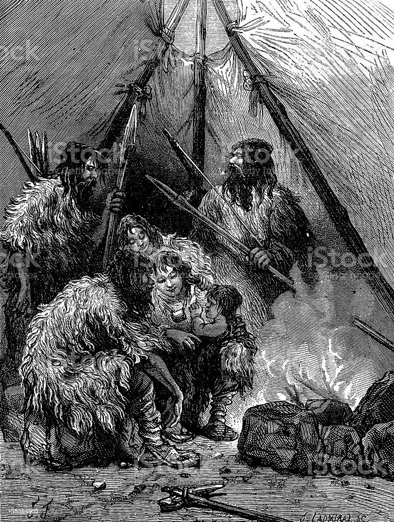 Prehistoric men antique illustration royalty-free stock vector art