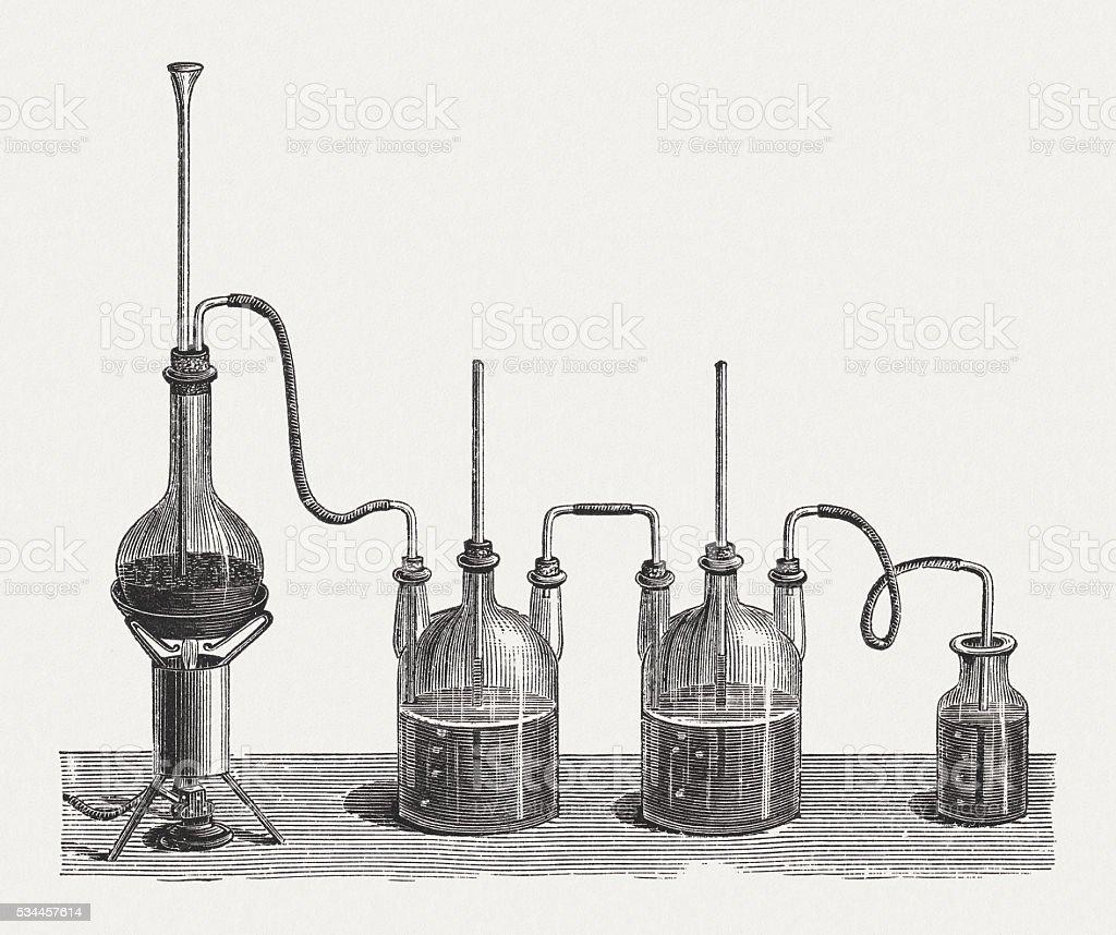 Preparation of chlorine water, wood engraving, published in 1880 vector art illustration