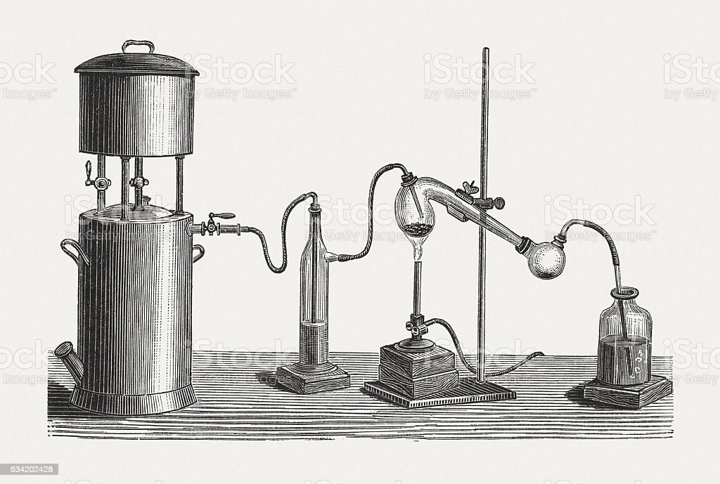 Preparation of mercury, wood engraving, published in 1880 vector art illustration