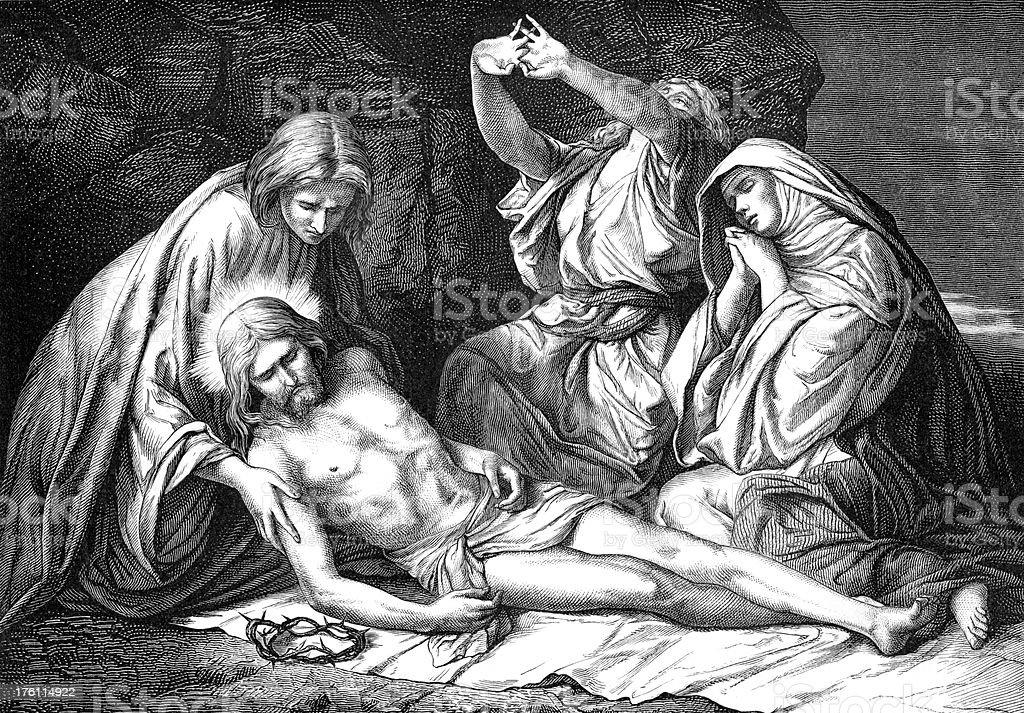 Preparing the Body of Christ for Burial vector art illustration