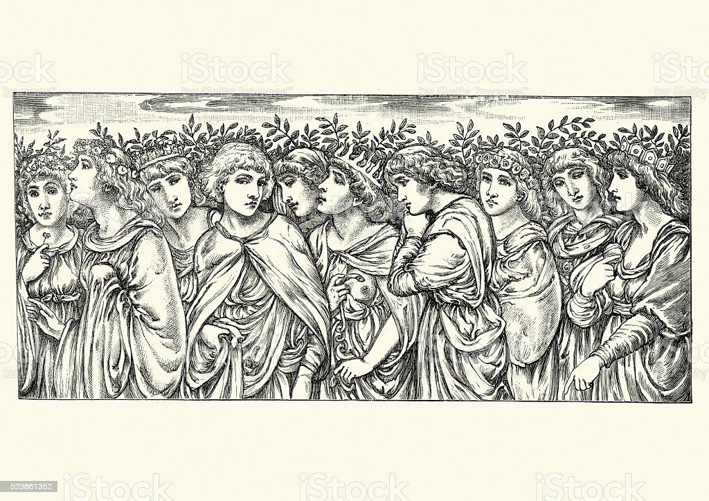 Pre-Raphaelite Queens vector art illustration