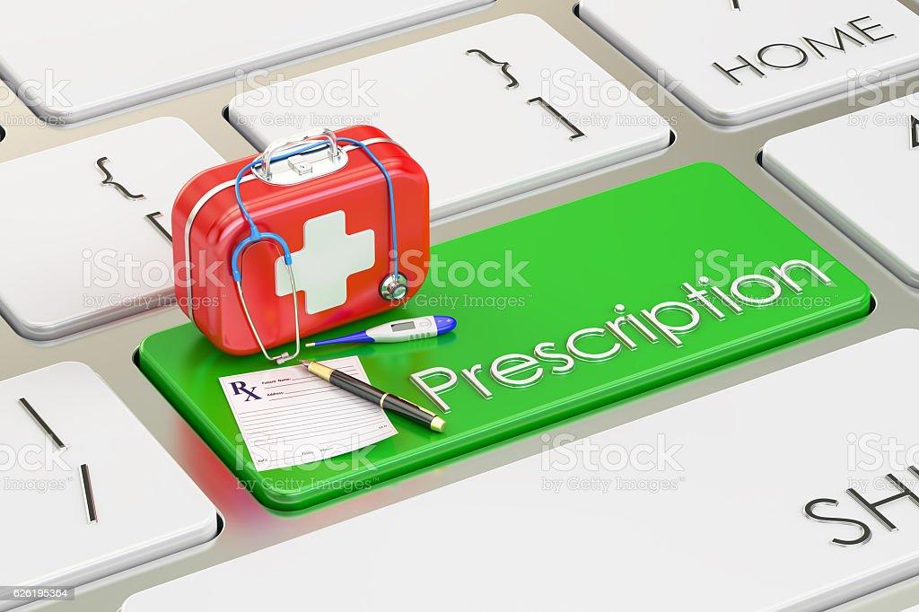 Prescription key on keyboard, 3D rendering vector art illustration