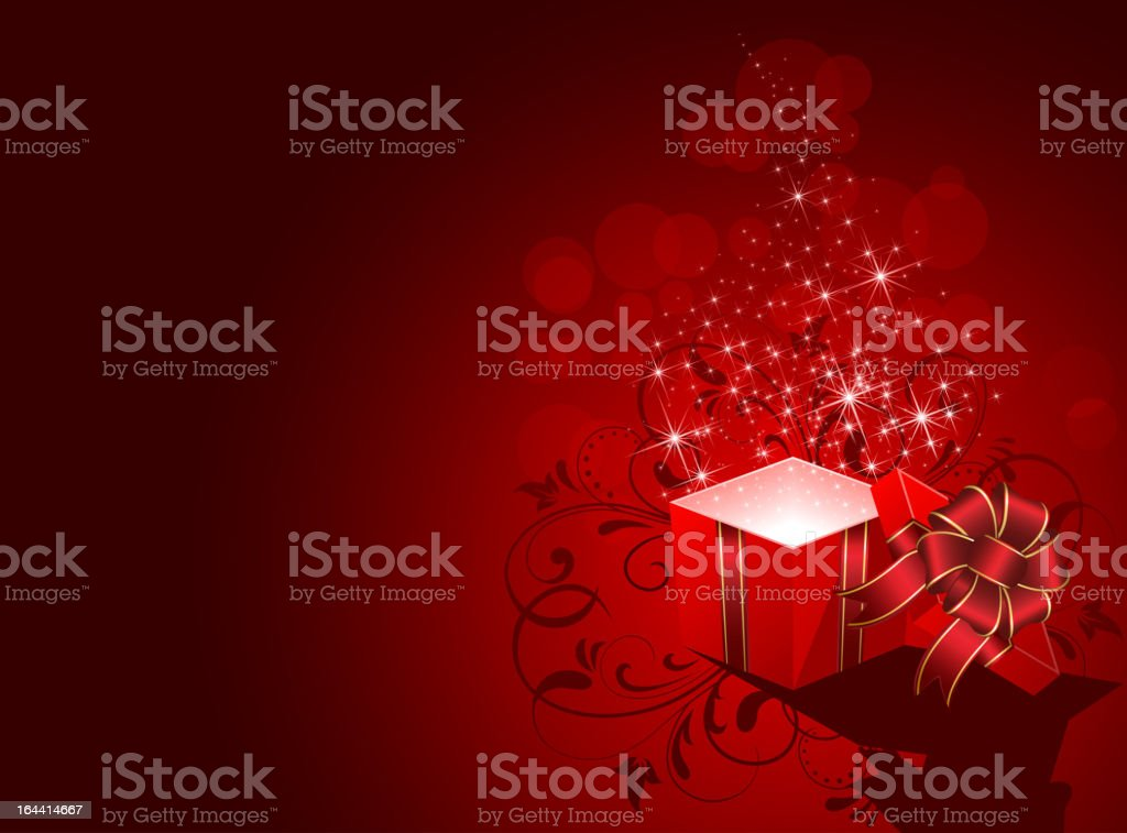 Present with stars on red background royalty-free stock vector art