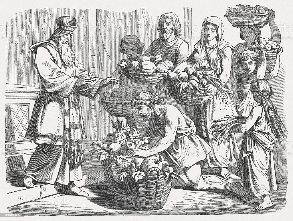 Presentation of the First Fruits  (Deuteronomy 26, 1-2) vector art illustration