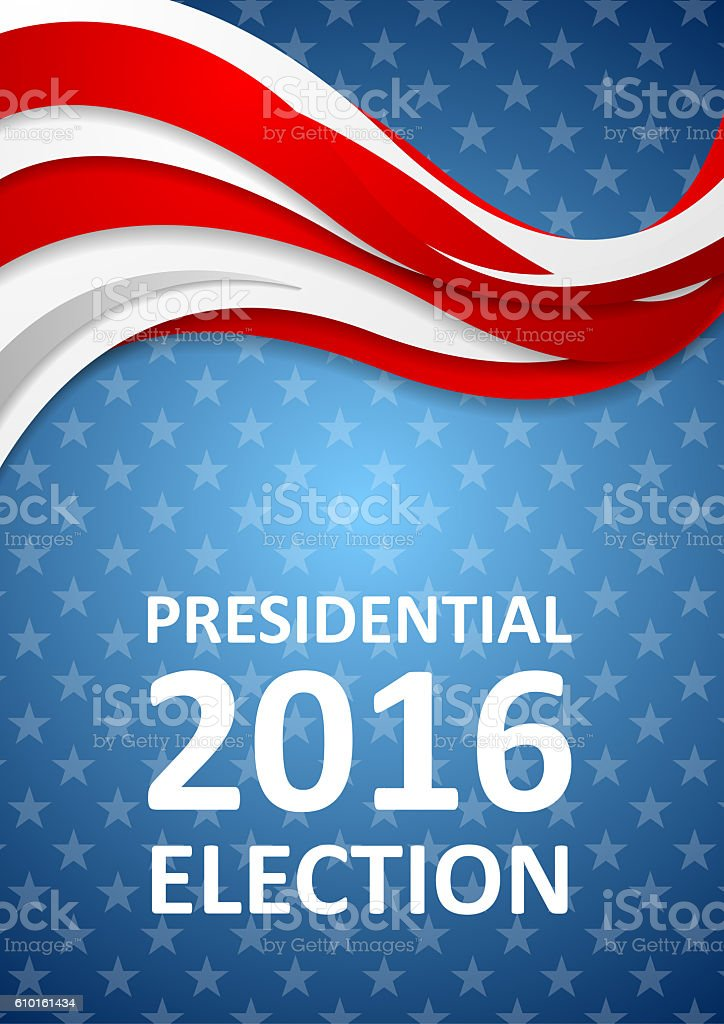 USA Presidential Election 2016 flyer template vector art illustration