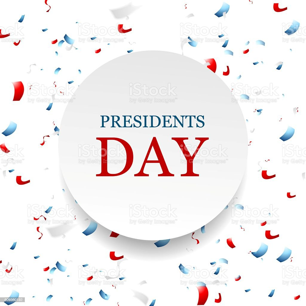 Presidents Day abstract USA colors confetti background vector art illustration