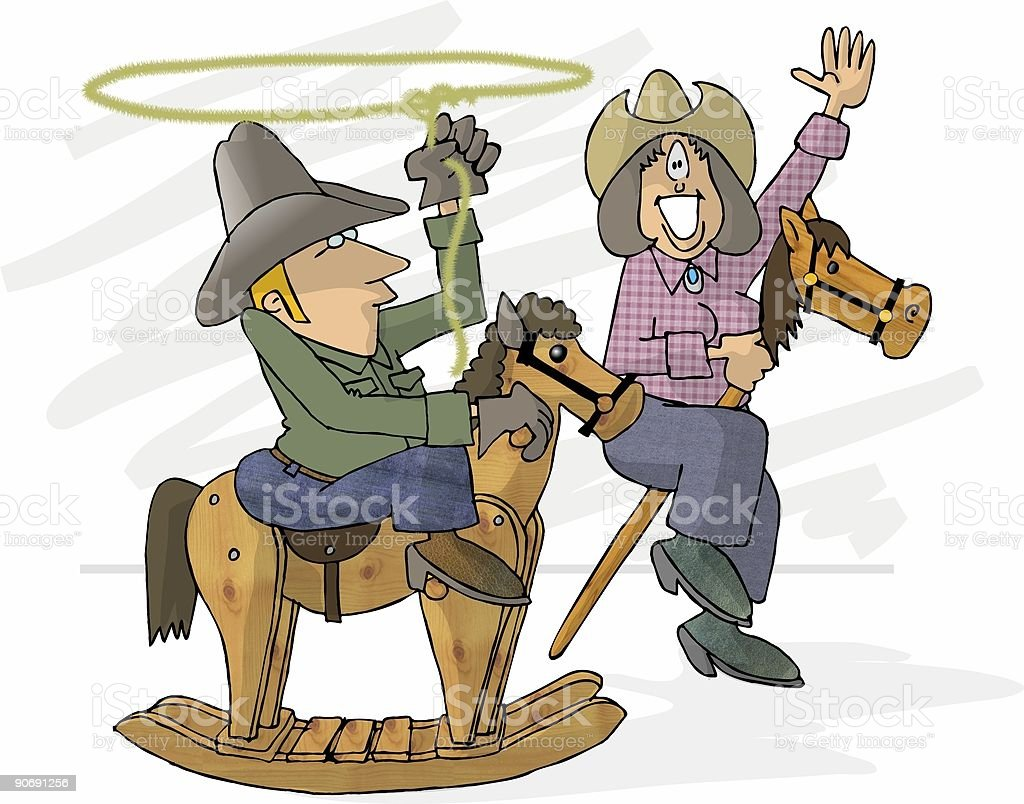 Pretend Cowboy & Cowgirl royalty-free stock vector art