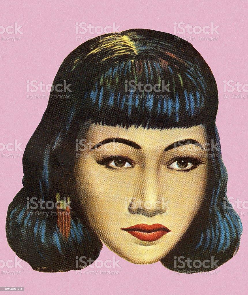 Pretty Dark Haired Woman royalty-free stock vector art