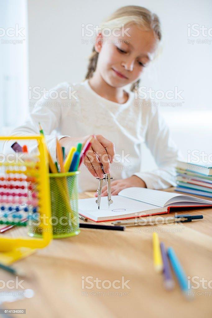 Pretty little girl drawing circles vector art illustration