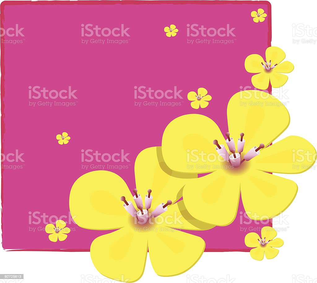 Pretty yellow flowers over pink notepaper royalty-free stock vector art