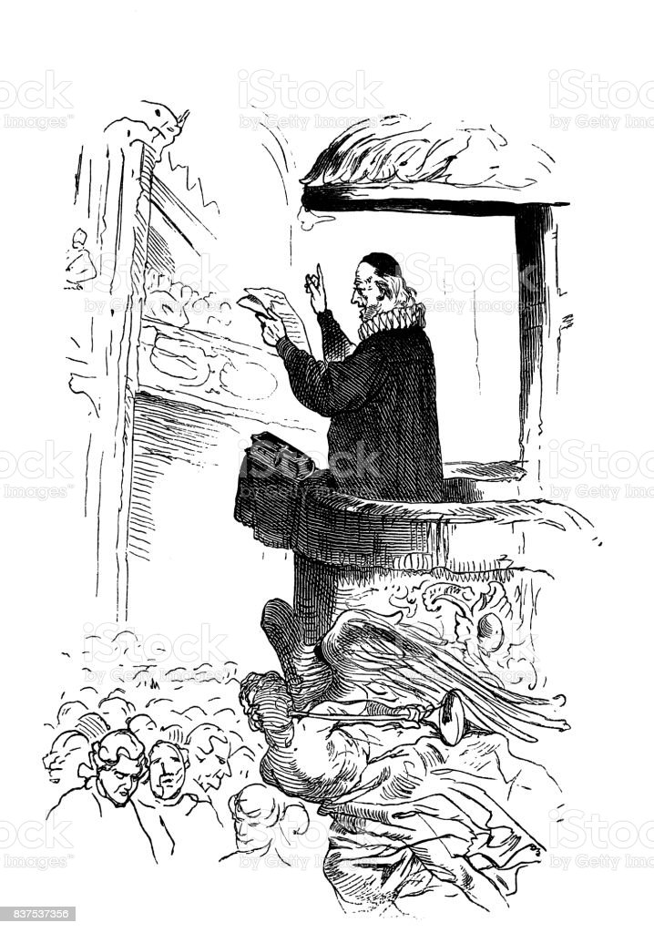 Priest at the pulpit during the Mass - 1867 vector art illustration