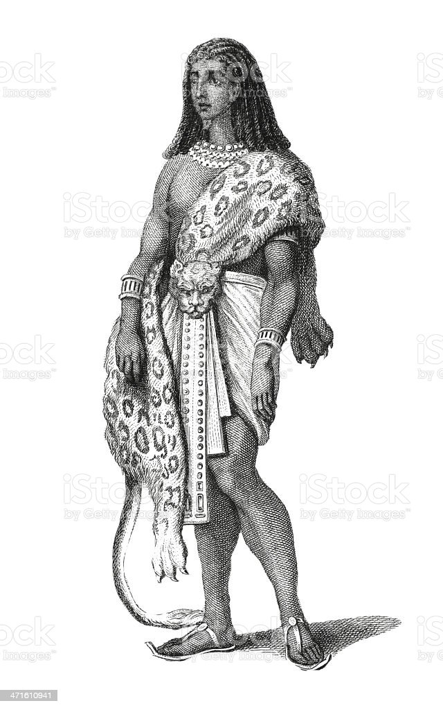 Priest of Ancient Egypt (antique wood engraving) royalty-free stock vector art
