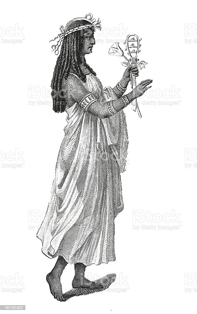 Priestess of Ancient Egypt (antique wood engraving) royalty-free stock vector art