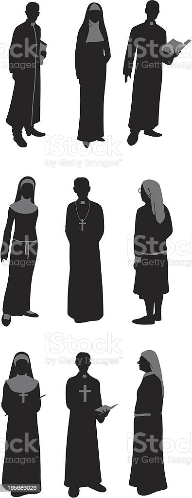 Priests and Nuns vector art illustration