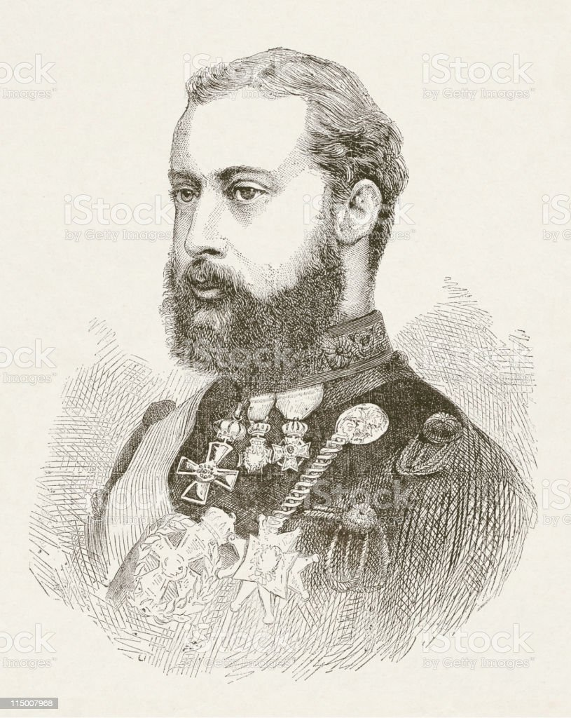 Prince Albert Edward of Wales (1841-1910), wood engraving, published 1872 vector art illustration