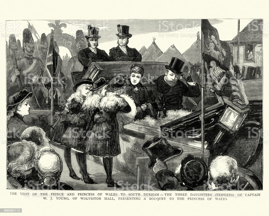 Prince and Princess of Wales visit to Durham, 1884 vector art illustration